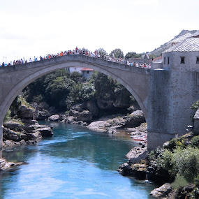 Old bridge in the Mostar by Alesanko Rodriguez - Buildings & Architecture Bridges & Suspended Structures ( neretva, bosnia and herzegovina, europe, season, old bridge, summer, historical, travel, mostar, river )