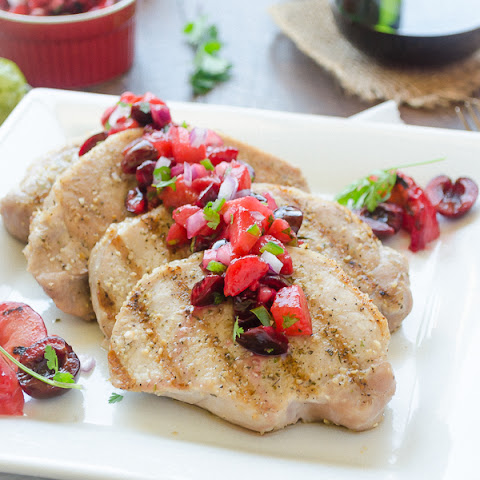 Grilled Pork Chops with Plum Cherry Salsa