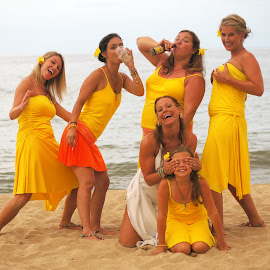Silly Girls by Nicole Abel - Wedding Groups ( silly, girls, bridesmaids, playful, naughty, drinking, funny, bride, bad girls )