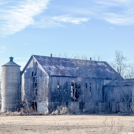 Age is Catching Up by Jason Lockhart - Buildings & Architecture Decaying & Abandoned ( partly cloudy, wisconsin, winter, old barn, calumet county )