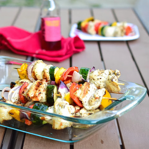 Simple Grilled Chicken Skewers with Red Wine Vinaigrette