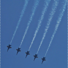 Five In A Row by Sandy Stevens Krassinger - Transportation Airplanes ( flying, f-18, contrails, sky, transportation, formation )