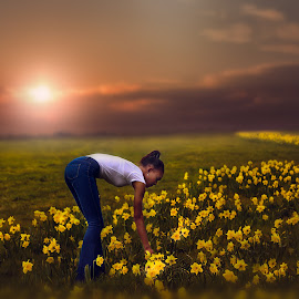 A Moment In Time by Una Williams Photos - People Fashion ( field, model, sunset, atmosphere, flowers )