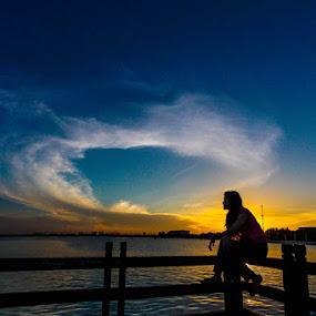 Sunrise contemplation by GilaMoto GilaMoto - Novices Only Portraits & People