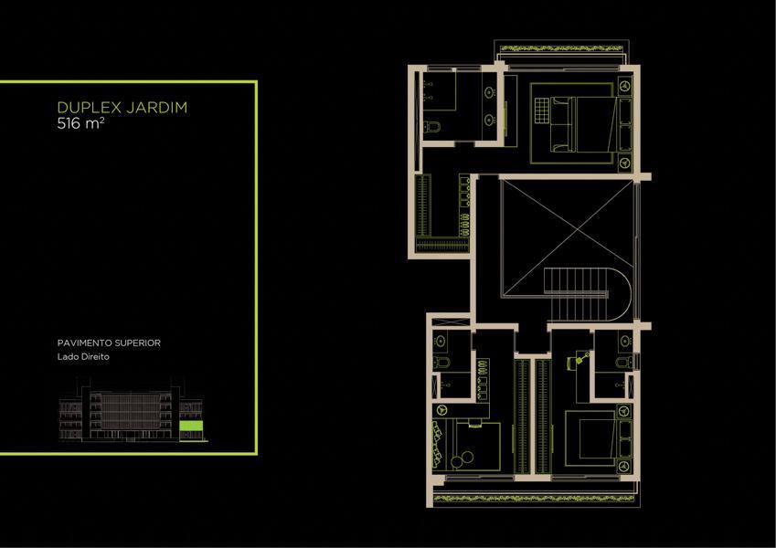 Apto  Duplex Jardim (1B)  - 516 m² - Piso Superior