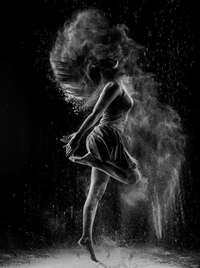 Dancers in the Dust 2 by Sebastien Goossens - People Fine Art ( skirt, studio, white, black and white collection, people, women, jump, b/w, mouvement, dust, hair, dancer, black )