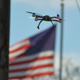 Quadcopter & American Flag by Katie Danielle - Sports & Fitness Other Sports ( flying, remote control, quadcopter, america, american flag, usa, rchelicopter )
