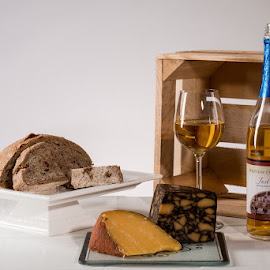 Just Peachy by Michael Holser - Food & Drink Alcohol & Drinks ( just peachy, wine, bread, cheese, cherry walnut )