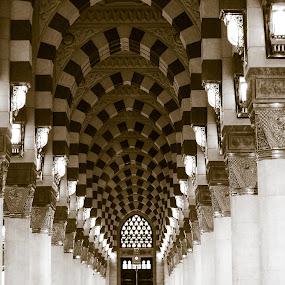 Pillar by Adi Mumun'k - Buildings & Architecture Other Interior ( interior, pole, mosque, pillar, architecture, black and white, building, monotone,  )