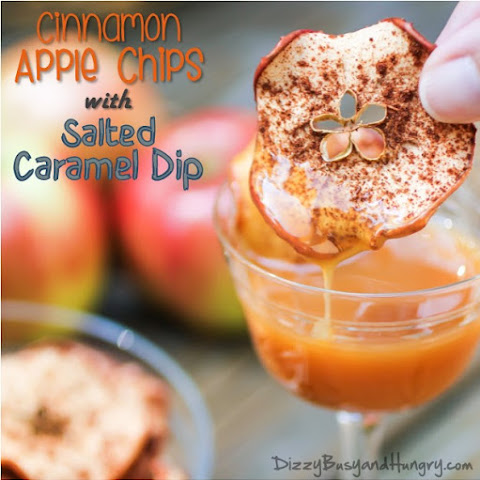 Cinnamon Apple Chips with Salted Caramel Dip