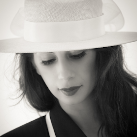 Hats on by Myra Brizendine Wilson - People Fashion ( 50's fashion, model, black and white suit, female, white hat, fashion model, female model )
