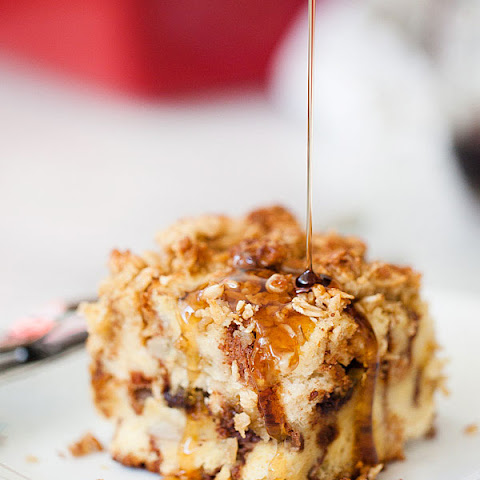 Banana and Chocolate Chip Baked French Toast with Oatmeal Crumble