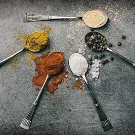 Flavors by Jukka Pinonummi - Food & Drink Ingredients ( decor, decoration, food, art, flavor, pepper, spoon, baking, kitchen, photography, colours, salt )