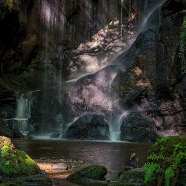 The Waterfall by Phil Robson - Nature Up Close Water ( water, northumberland, waterfall, roughing linn, rocks )