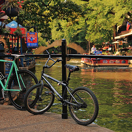 Biking the Riverwalk by Sergio M - City,  Street & Park  City Parks ( san antonio riverwalk, attraction parks, riverwalk, texas, attractions, riverwalk texas, rivers, bicycles, bike, bikes, towns, creek, parks, popular attraction, streams, town photography, popular attractions )