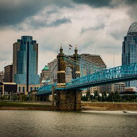 Bridge to Cincy by Dan Bartlett - Buildings & Architecture Bridges & Suspended Structures ( blue, buildings, great american, bridge, cincinnati, city )