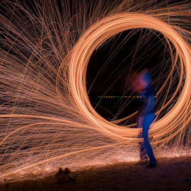 Fire circle by Jurica Žumberac - Abstract Light Painting ( abstract, steelwool, long exposure, night, circle, light )