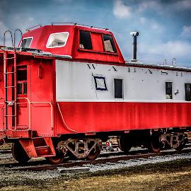 Wabash Caboose by Liam Douglas - Transportation Trains ( clouds, sky, caboose, railway, blue, railroad, cars, outdoors, white, train, tracks )