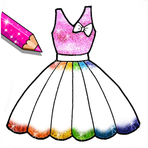 Glitter Dresses Coloring Book - Drawing pages For PC (Windows & MAC)