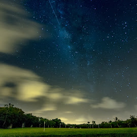 Driving Range by Cory Loomis - Landscapes Starscapes ( stary, clouds, shooting star, star, golf, night, driving range, milky way )