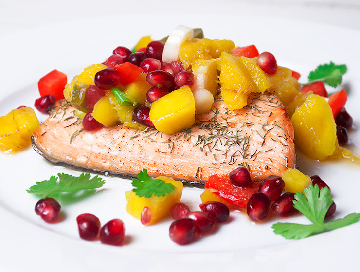 Salmon With Pineapple-Pomegranate Salsa Recipes — Dishmaps