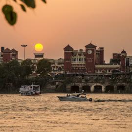 Sunset by Tamal Das - City,  Street & Park  Neighborhoods ( station, kolkata, ganges, bengal, howrah )