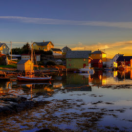 Fedje by Rune Askeland - City,  Street & Park  Neighborhoods ( sunset, boathouse, norge, boat, fjord, fedje, norway )