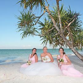 Bride and Bridesmaids by Andrew Morgan - Wedding Groups ( bridesmaids, zanzibar, wedding, beach, bride, tanzania )