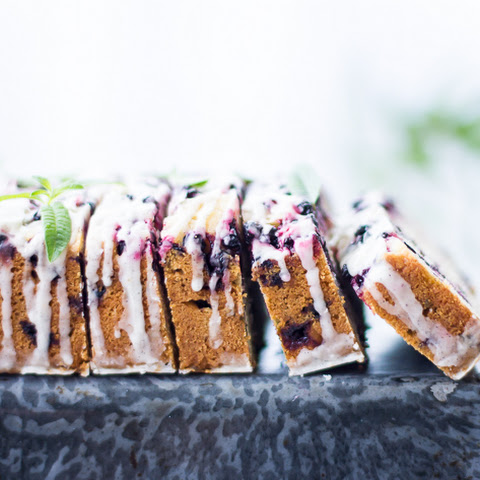 Huckleberry Lemon Verbena Tea Cake with Vanilla Bean Glaze {Gluten-Free}