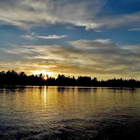 Lake Sawyer Sunset (3) by Sara Swanson - Landscapes Sunsets & Sunrises