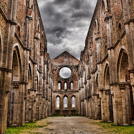 SAN GALGANO TOSCANA ITALIA by Gianluca Presto - Buildings & Architecture Public & Historical ( clouds, arte x, gothic, tuscany, toscana, church, art, architecture, san galgano, chiusdino, cattedrale, sky, italia, dark, architectural, cloudy, italiaabbey, galgano, abandoned )