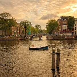 Amsterdam canal by Cora Lea - City,  Street & Park  Historic Districts ( amsterdam, sunset, travel, amsterdam canal, water )