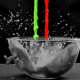 From Colour to Grayscale by Ross E - Abstract Water Drops & Splashes ( different, splash, green, paint, mess, coloursplash, imaginative, colour, grayscale, work of art, colourful, red, drops, merging, weird )