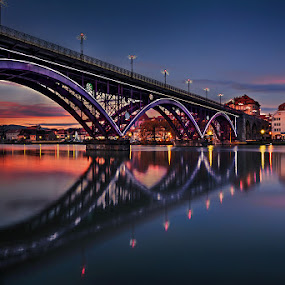 Over the river by Cvetka Zavernik - Buildings & Architecture Bridges & Suspended Structures ( sunset, bridge, cityscape, light, river )