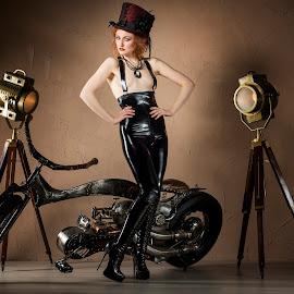 Steampunk Style by Donald Ogg - Nudes & Boudoir Artistic Nude ( fantasy, studio, model, bike, steampunk )