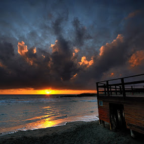by Fabio Ponzi - Landscapes Sunsets & Sunrises ( clouds, orange, sky, red, wood, waterscape, sunset, sea, yellow )