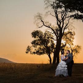 Sunset by Lodewyk W Goosen (LWG Photo) - Wedding Bride & Groom ( love, kiss, wedding photography, weddings, wedding, wedding photos, wedding photographer, bride and groom, bride groom )