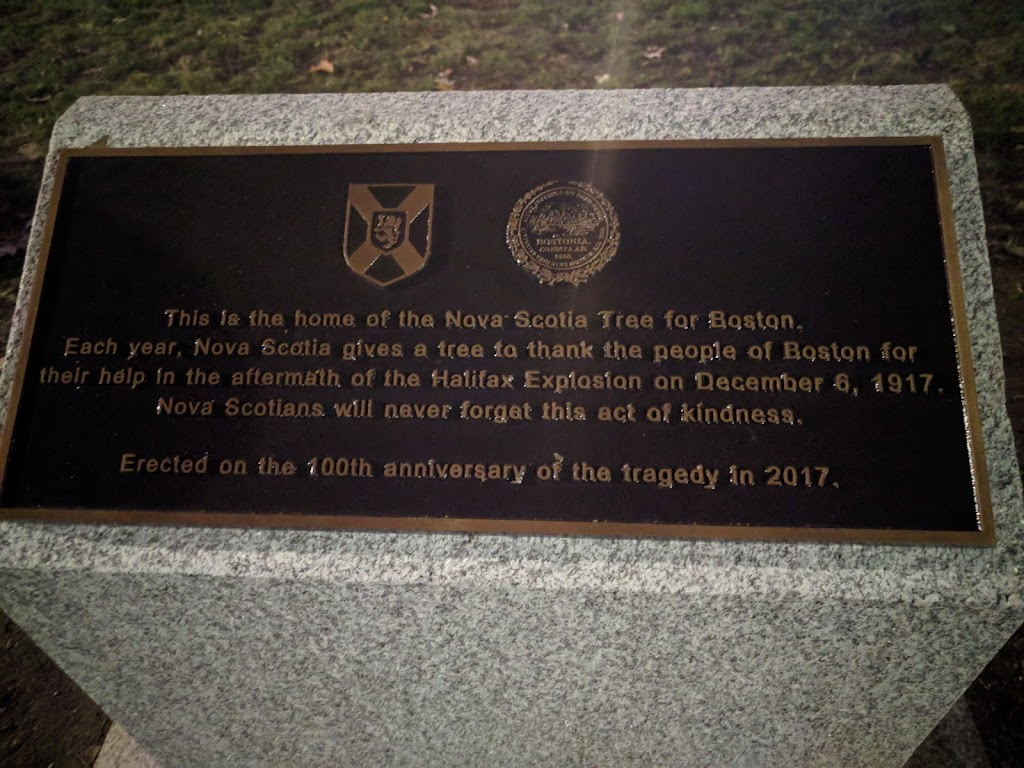 This is the home of the Nova Scotia Tree for Boston. Each year, Nova Scotia gives a tree to thank the people of Boston for their help in the aftermath of the Halifax Explosion on December 6, 1917. ...