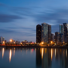 Blue hour at Chicago by Cristobal Garciaferro Rubio - Buildings & Architecture Office Buildings & Hotels ( water, sky, blue hour, buildings, chicago )