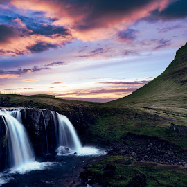 Kirkjufellsfoss, Iceland by Marc Sharp - Landscapes Mountains & Hills ( water, kirkjufell, iceland, sky, sunset, skyporn, long exposure, dramatic sky, landscape )