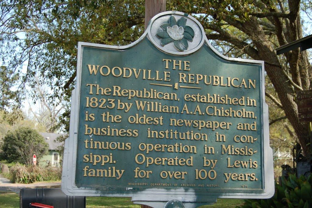 The Republican, established in 1823 by William A.A. Chisolm, is the oldest newspaper and business institution in continuous operation in Mississippi. Operated by Lewis family for over 100 years.