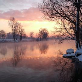 Cold sunrise by Oliver Švob - Instagram & Mobile Android ( water, clouds, korana, reflection, europe, croatia, boat, hrvatska, sun, sony, winter, sky, karlovac, tree, snow, sunrise, down, river,  )
