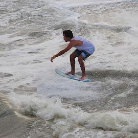 Skim Boarder by Prentiss Findlay - Sports & Fitness Watersports ( skim boarder, skim board, waves, ocean, surf )