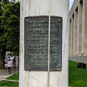 MAST OF AMERICA CUP RACING YACHT SHAMROCK 111 PRESENTED TO THE BROOKLYN PUBLIC LIBRARYBY EMMET J. MCCORMACK ERECTED AND DEDICATED BY MUTUAL SAVINGS BANKS Post No. 1820 THE AMERICAN LEGION MAY 30, ...