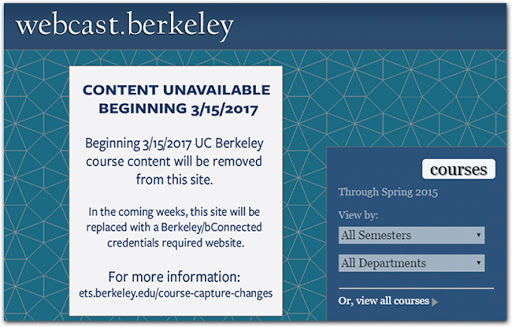 UC Berkeley nuked 20,000 Creative Commons lectures, but they're not going away