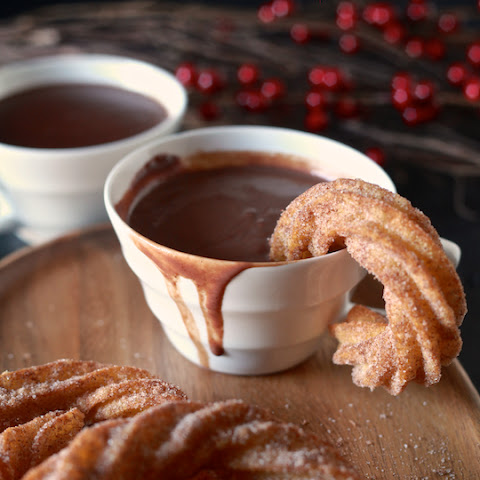Spanish Hot Chocolate with Coconut Churros