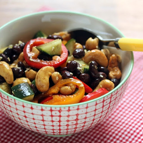 Black Bean, Vegetable And Cashew Salad With Sesame-ginger Dressing