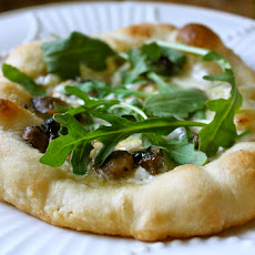 Mushroom, Brie and Arugula Pizza (with Truffle Creme Fraiche)
