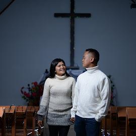 Couple at church by Fredy Pandia - Wedding Bride & Groom ( prewed, church, wedding, night, couple, portrait )