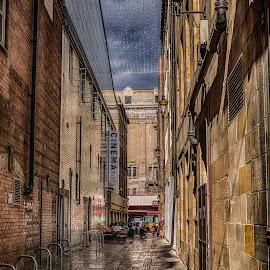 Orange Alley by Adam Lang - City,  Street & Park  Street Scenes ( cinema, tyneside, reflections, newcastle, alley )